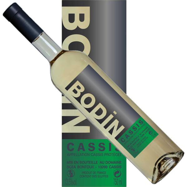 Vin Cassis blanc Bodin pur jus de goutte étiquette moderne