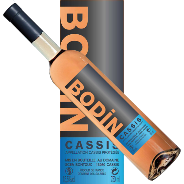 Wine Cassis rosé Bodin label modern