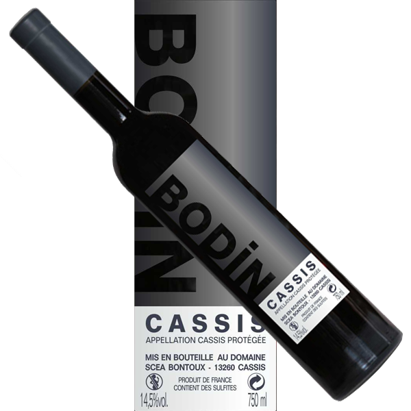 Wine red Cassis Bodin modern label