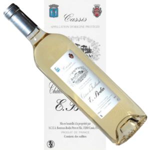 Vin Cassis blanc Bodin pur jus de goutte Chateau Fonblanche étiquette traditionnelle